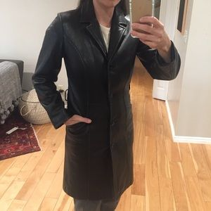 Wilson's leather black duster jacket size small